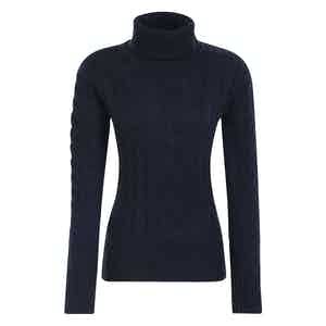 Navy Merino-Cashmere Blend Classic Cable-Knit Sweater