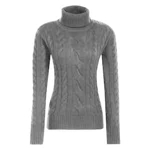 Grey Merino-Cashmere Blend Classic Cable-Knit Sweater