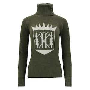 Hunter Green Merino-Cashmere Monarch Roll Neck Sweater