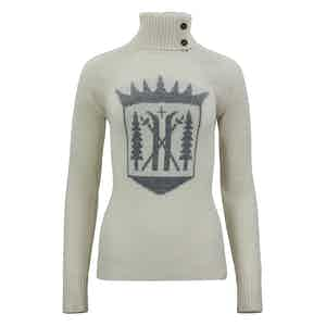 Ivory Merino-Cashmere Monarch Roll Neck Sweater