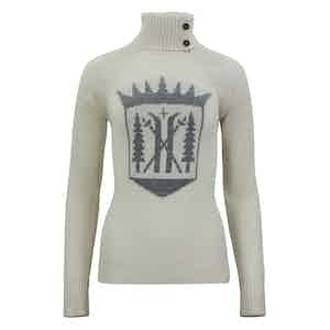 Ivory Merino-Cashmere Monarch Roll Neck Sweater