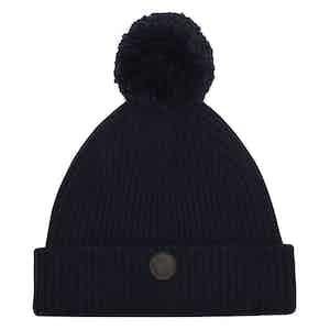 Navy Cashmere-Merino Classic Pom Hat