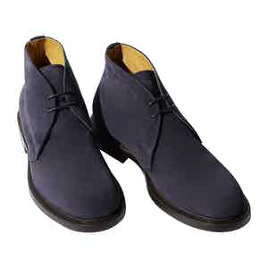 Blue Suede Leather Steve Ankle Boots