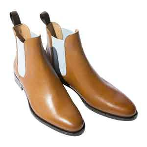 Cognac Calf Leather Giancarlo Chelsea Boots