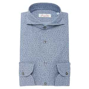 Washed Chambray Denim Floral Cotton Shirt