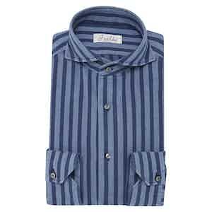Blue-Striped Denim Cotton Flannel Shirt
