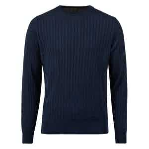 Navy Cable Knit Crew Neck