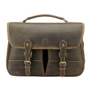 Aztec Crazyhorse Leather Small Clipper Satchel Briefcase