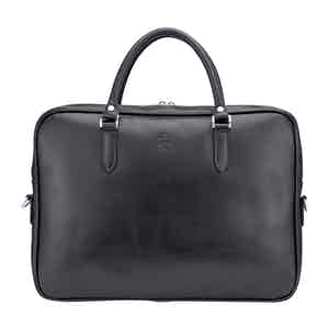 Black Leather Slim Piccadilly Laptop Briefcase