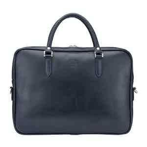 Navy Leather Slim Piccadilly Laptop Briefcase