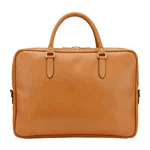 Tan Leather Slim Piccadilly Laptop Briefcase