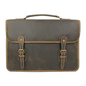 Aztec Crazyhorse Leather Wymington 2 Bellow Satchel Briefcase