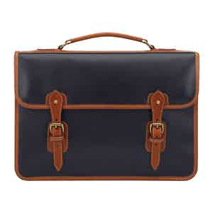 Navy Atlantic Leather Wymington 2 Bellow Satchel Briefcase