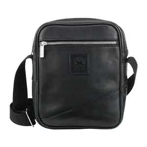 Black Elba Leather Nimrod Cross Body Messenger Bag