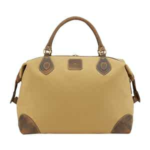 Safari Tan Canvas and Leather Medium Explorer Holdall