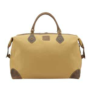 Safari Tan Canvas and Leather Large Explorer Holdall