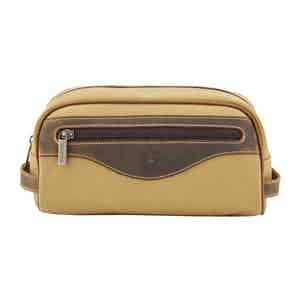 Safari Tan Canvas and Leather Excursion Washbag