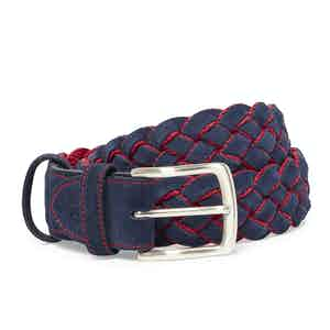 Navy and Red Leather Suede Handwoven Belt