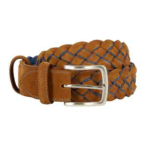 Tan and Cornflower Blue Calf Leather Handwoven Belt