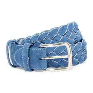 Cornflower and Pale Blue Calf Suede Handwoven Belt