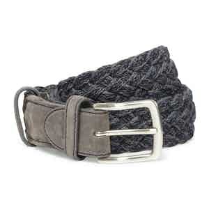 Storm Blue and Grey Wool Handwoven Belt