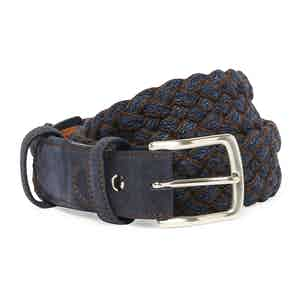 Navy and Chocolate Wool Handwoven Belt