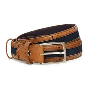 Chestnut and Navy Calf Leather McLaren Belt