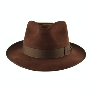 Dark Tan Fur Felt Alfred Trilby Hat
