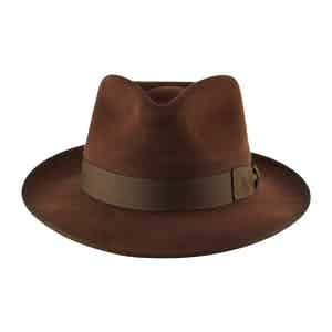 Dark Tan Fur Felt Alfred Trilby Hat