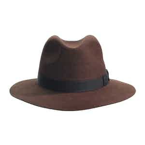 Brown Fur Felt Crushable Fedora