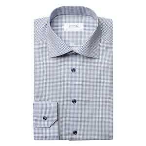 Blue Floral-Print Cotton Classic Fit Shirt