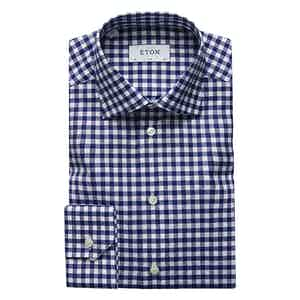 Navy Gingham-Checked Cotton Sim Fit Shirt