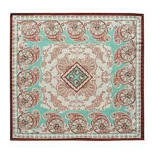 Turquoise Paisley Cotton-Silk Pocket Square