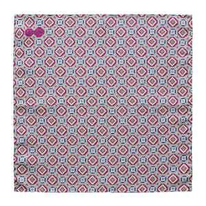 Purple Medallion-Print Silk Pocket Square