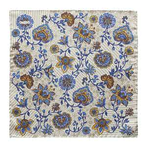 Beige Floral Silk Pocket Square
