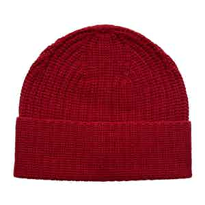 Red Ribbed Wool-Blend Beanie