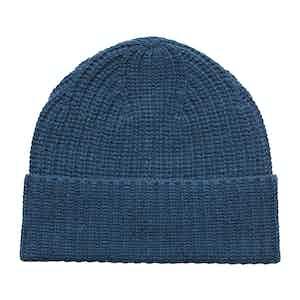 Blue Ribbed Wool-Blend Beanie