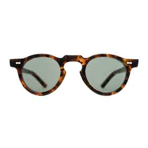 Amber Tortoise and Bottle Green Welt Sunglasses