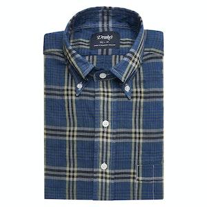 Blue-Yellow Checked Cotton-Tence Button-Down Shirt