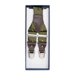Olive Green Dotted Silk Jacquard Braces