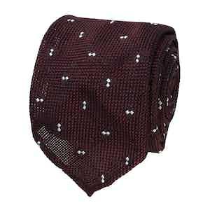 Burgundy Spotted Grenadine Silk Tie