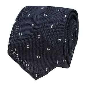 Blue Spotted Grenadine Silk Tie