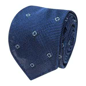 Blue and Light Blue Spotted Grenadine Silk Tie