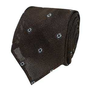 Brown and Blue Spotted Grenadine Silk Tie
