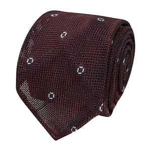Burgundy and Blue Spotted Grenadine Silk Tie