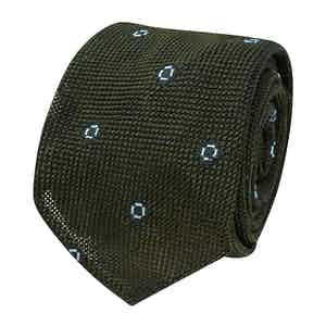Green and Light Blue Spotted Grenadine Silk Tie