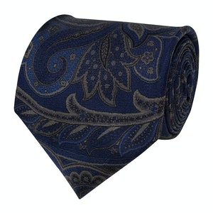 Navy Blue Large Paisley Silk Tie