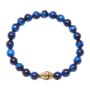8MM Blue Tiger Eye and Gold Buddha Wristband