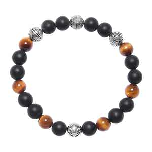Brown Tiger Eye, Matte Onyx and Silver Cairo Bead Wristband