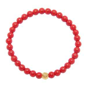 Red Vintage Trifocal Beads and Gold Wristband